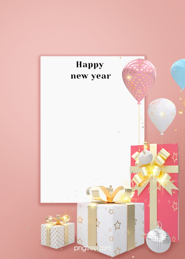 Celebrate New Year White Square Gift Balloons Pink ...