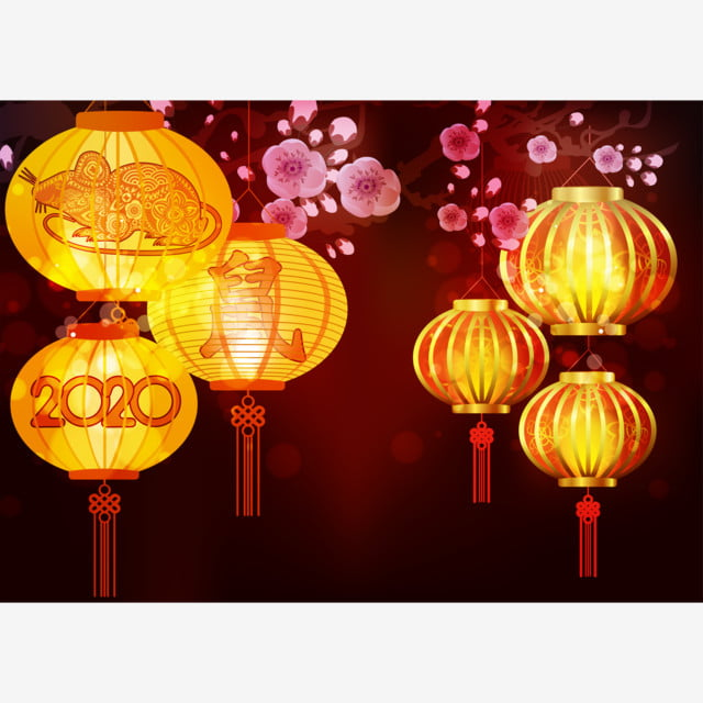 Chinese Lantern Festival 2020.Happy Chinese New Year 2020 Background With Lanterns And