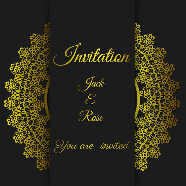 Black Wedding Card Gold Invitation Card Template With Gold