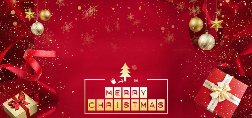 Merry Chirstmas And Happy New Year In Red Background With