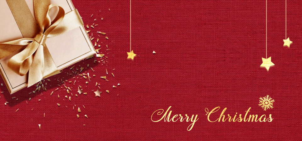 Merry Christmas In Red Background With Gift Box Happy New