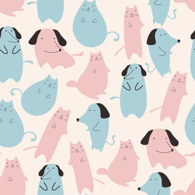 Seamless Pattern With Cute Cat And Dog Animal Pastel Colors Blue