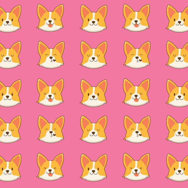 Cute Corgi Dog Face Pattern Baby Cartoon Wallpaper Background Image For Free Download