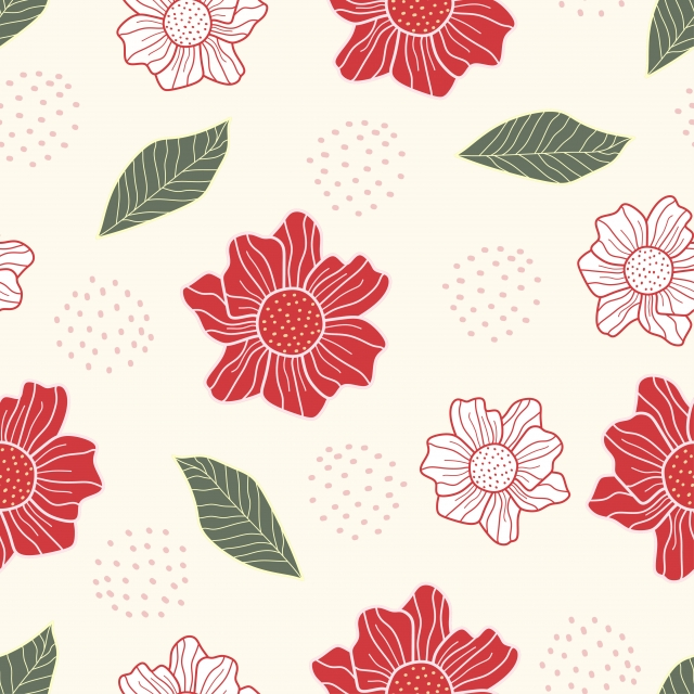 Cute Flower Pattern Seamless Hand Drawn Simple Design Vector Ready For Fabric Print Floral Wallpaper Seamless Background Image For Free Download