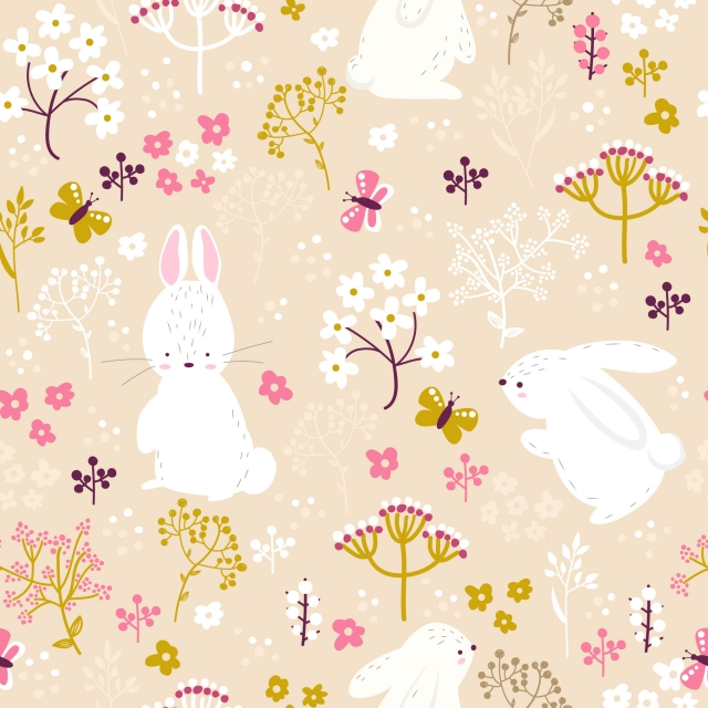 pngtree soft pink bunny and floral seamless pattern image 322185