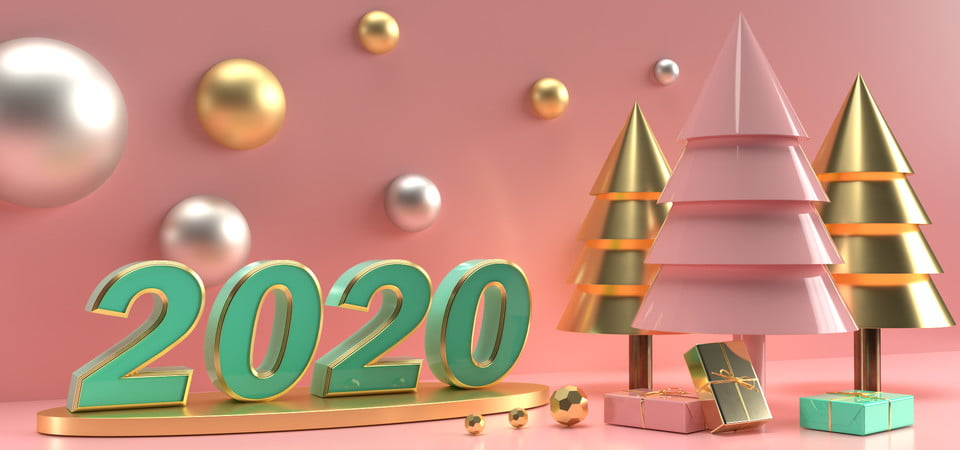 Happy New Year 2020 Festive Illustration With Golden