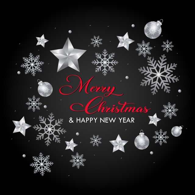 Happy Christmas Happy New Year 2020 Silver Red Wallpaper