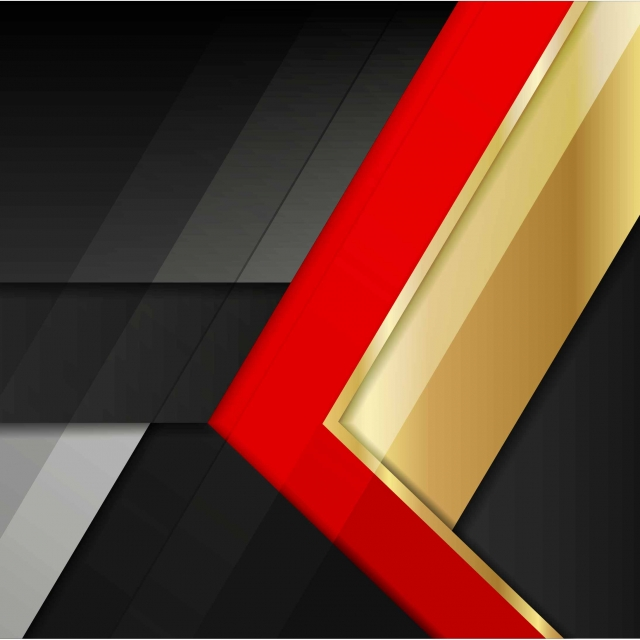Black And Red Abstract With Gold Metal Background Vector
