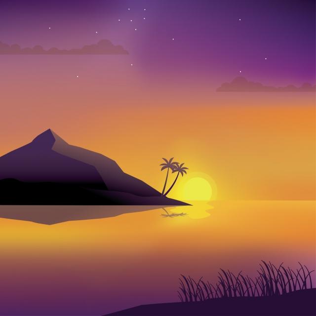 無料ダウンロードのための紫の空とヤシの木とビーチでビーチベクトルイラスト日没の風景で美しい夕日 風景 ビーチ 日没の背景画像