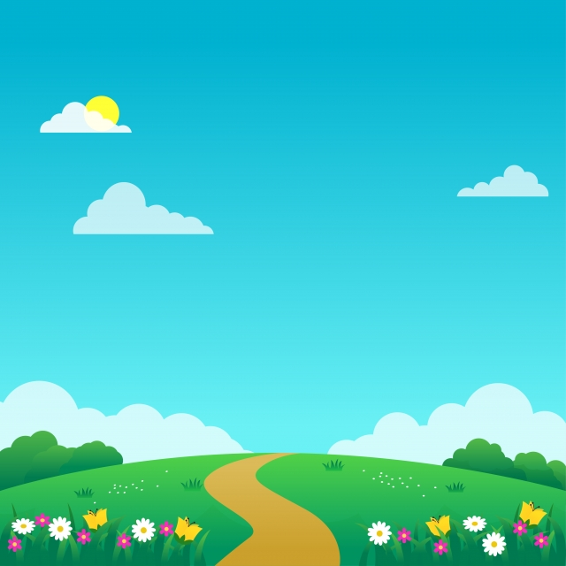 Beautiful Nature Landscape Cartoon Illustration With Flowers Green Grass And Blue Sky Suitable For Kids Background Background Nature Cloud Background Image For Free Download