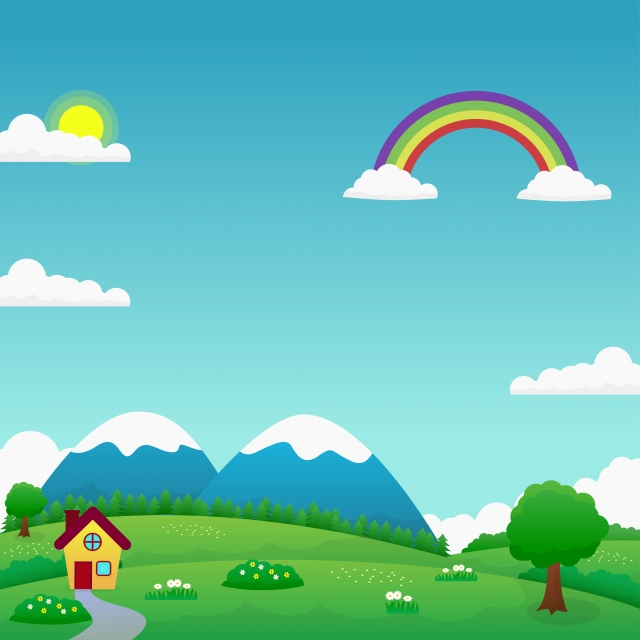 Funny Nature Landscape Vector With Green Field Home Blue Sky And Rainbow Nature Landscape Rainbow Background Image For Free Download