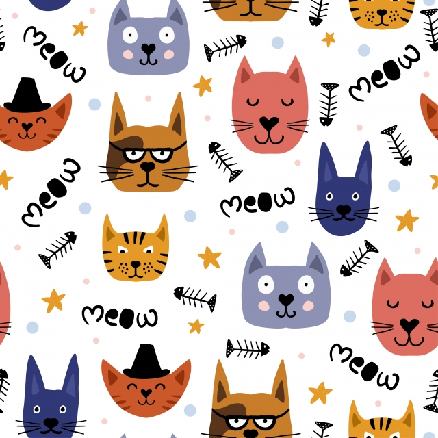 Childish Drawing Of Cute Cats Face Seamless Pattern Vector Illustration Animal Trendy For Fashion Textile Wrapping With Scandinavian Style Meow Text Fish And Star Element Pattern Cute Illustration Background Image For Free