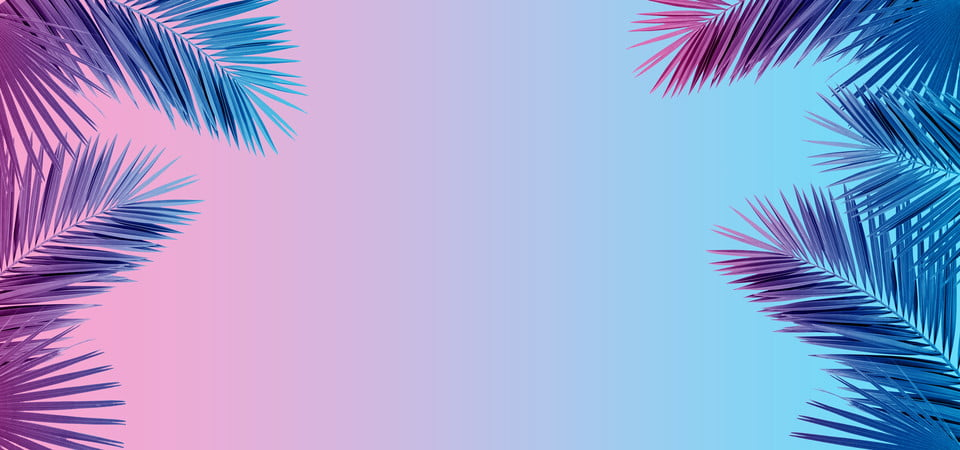 Tropical And Palm Leaves In Vibrant Bold Gradient ...