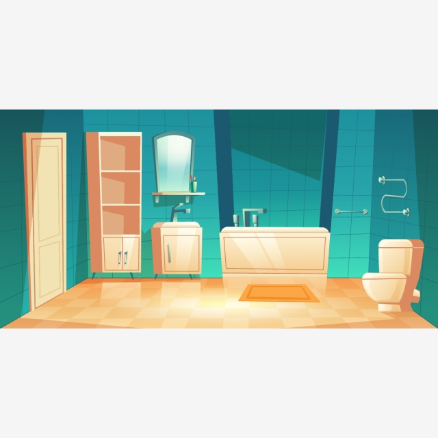 Empty Bathroom Interior With Furniture Cartoon Bathroom Vector Interior Background Image For Free Download