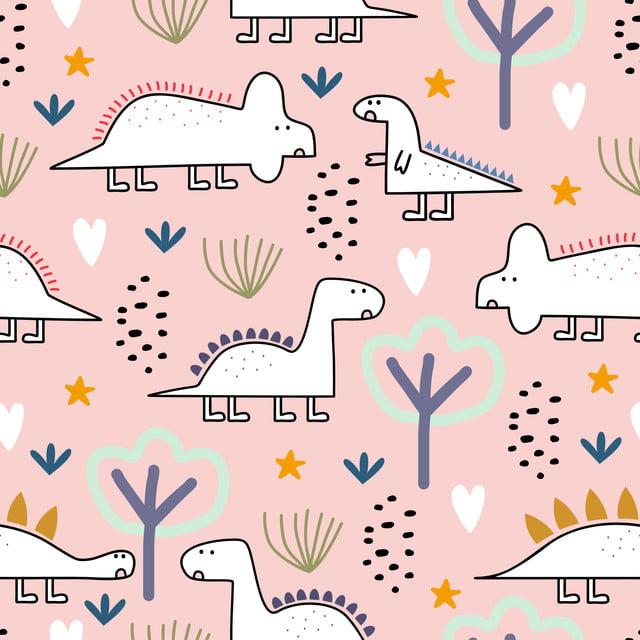 Ilustracao Em Vetor Padrao Sem Emenda De Dinossauro Com Caracteres