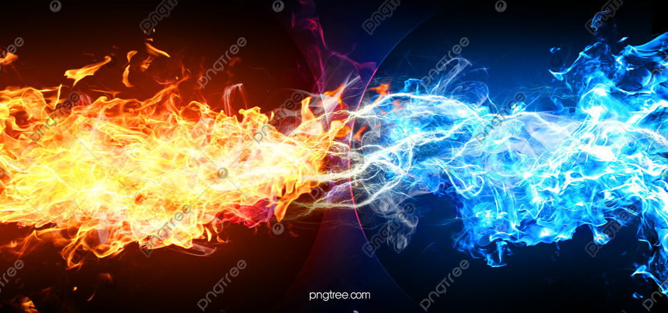 Hand Painted Creative Ice And Fire Burning Background Flame Point Blue Background Image For Free Download