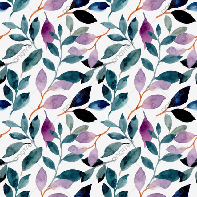 pngtree green purple leaves watercolor seamless pattern image 337506
