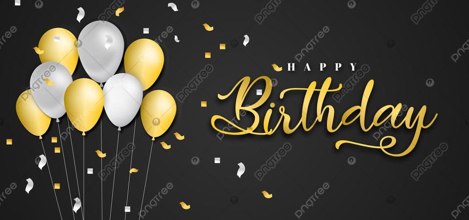 Selamat Ulang Tahun Huruf Emas Dengan Balon Nyata 3d Pesta Perayaan Ulang Tahun Gambar Latar Belakang Untuk Unduhan Gratis