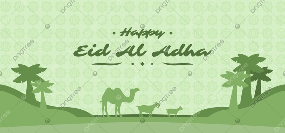 happy eid al adha celebration banner with camel goat and desert silhouette eid mubarak eid al adha idul adha background image for free download pngtree