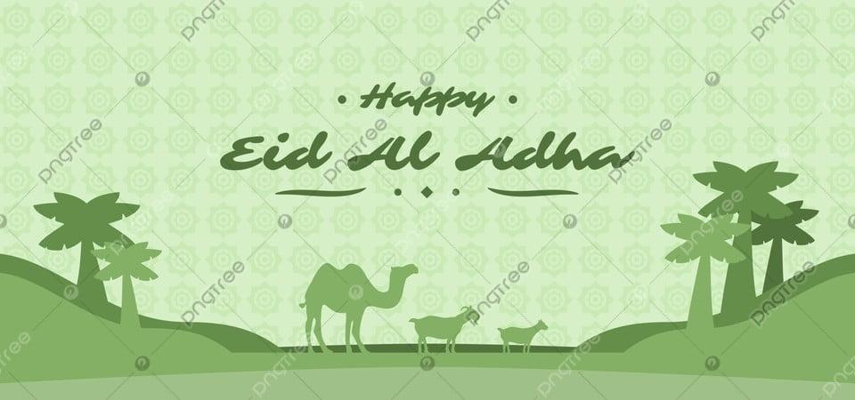 happy eid al adha celebration banner with camel goat and desert silhouette eid mubarak eid al adha idul adha background image for free download pngtree