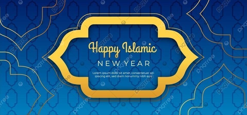 selamat tahun baru latar belakang biru islamic dengan ornamen arab di gradien emas festival kaligrafi salam gambar latar belakang untuk unduhan gratis pngtree