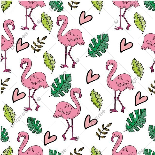 pngtree summer flamingo and leaves seamless pattern image 367402