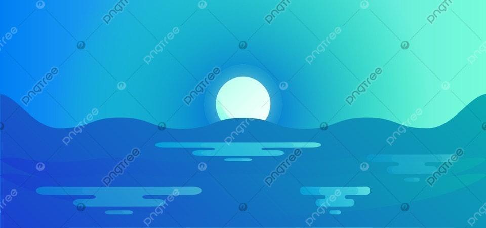 Pemandangan Ilustrasi Latar Belakang Air Malam Langit Vektor Laut Matahari Terbenam Seni Hitam Gelap Terang Putih