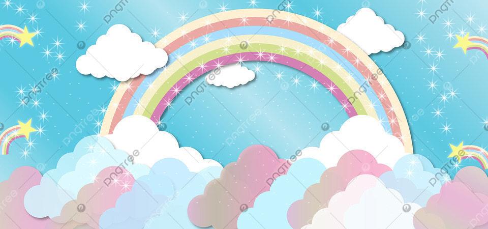 قوس قزح يونيكورن تصميم خلفية السماء قوس المطر سحري سماء صورة الخلفية للتحميل مجانا