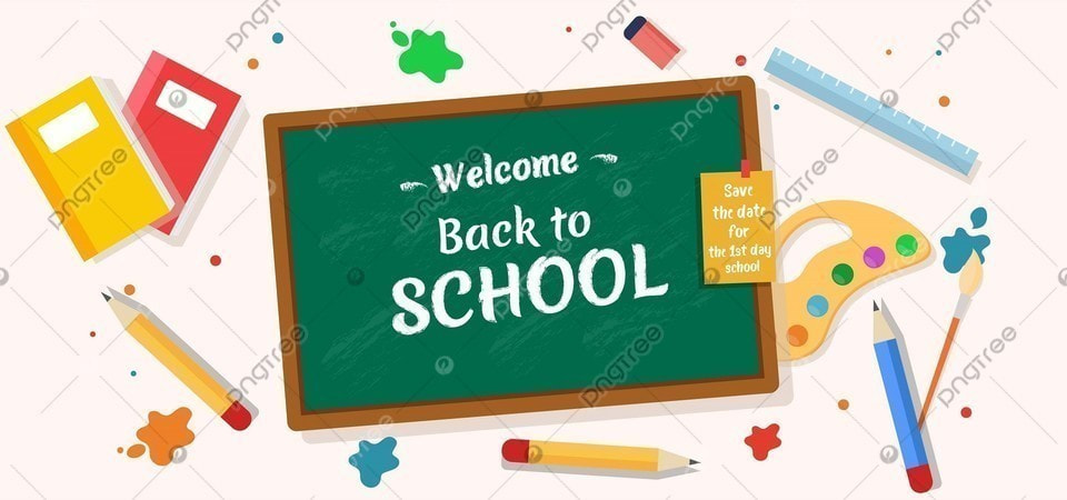Welcome Back To School With Stationary Background Back To School Stationary Greenboard Background Image For Free Download
