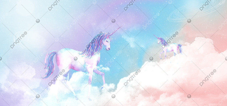 pngtree aesthetic fantasy rainbow unicorn on the cloud image 374486