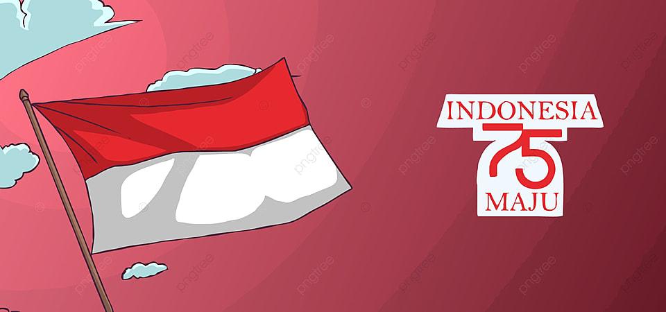 Ilustrasi Bendera Indonesia Yang Berkibar Di Langit Dan Dengan Latar Belakang Orang Orang Yang Heboh Karya Seni Merah Putih Bendera Gambar Latar Belakang Untuk Unduhan Gratis