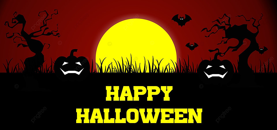 Happy Halloween With Yellow Background Silhouette Moon Night Background Image For Free Download