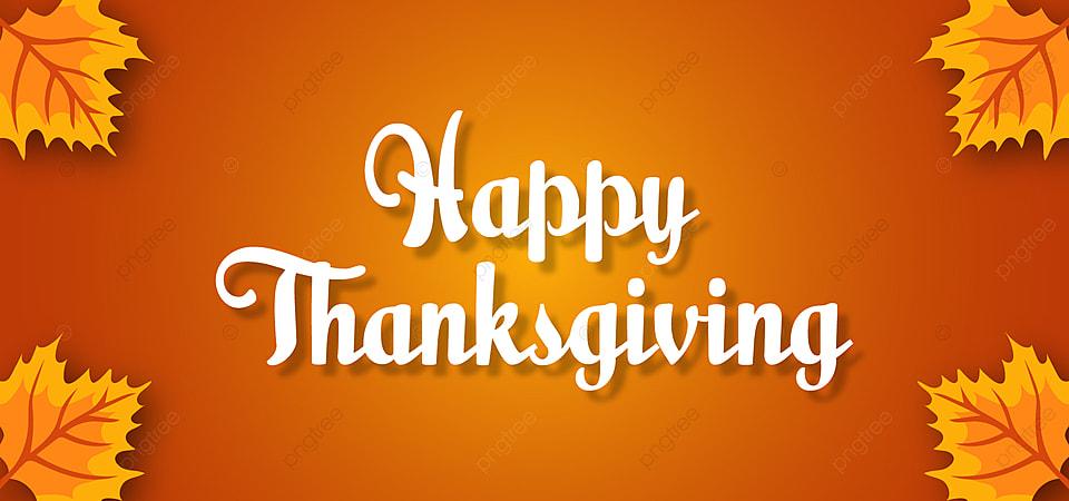 Orange Happy Thanksgiving Banner