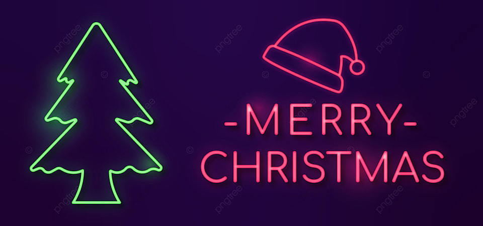 pngtree greeting merry christmas with neon style image 444309