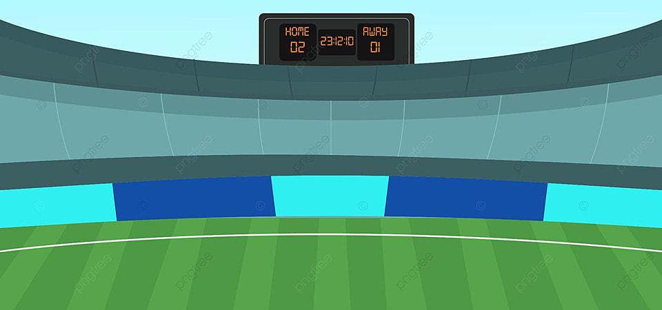ملعب كرة قدم فارغ مع منصة عالية ولوحة تسجيل رقمية ملعب حقل أخضر صورة الخلفية للتحميل مجانا