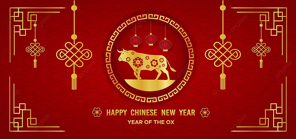 Happy Chinese New Year With Golden Frame And Ox Background Happy Chinese New Background Image For Free Download