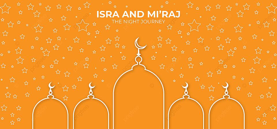 Islamic Orange Background Design Vector For Isra And Mi Raj, Isra And  Mi