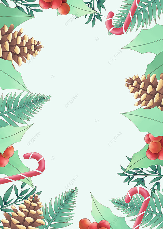 pngtree beautiful cute christmas holly pine cone candy cane red yellow green image 463190