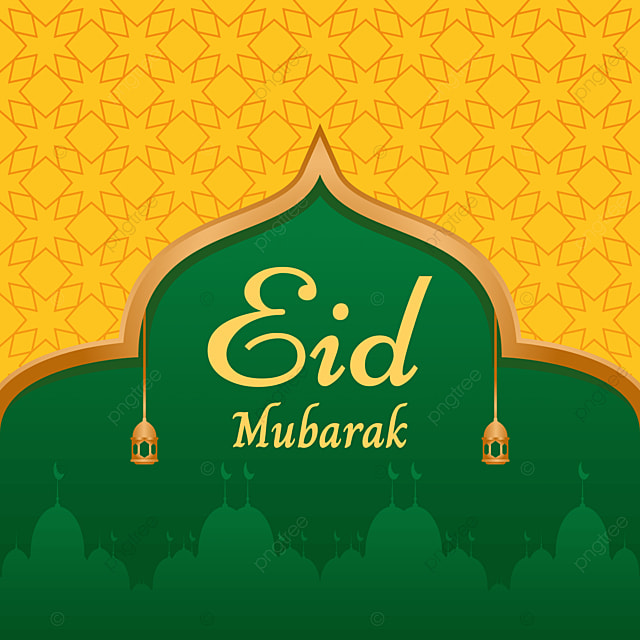 Beautiful Green And Yellow Eid Mubarak Background Design Background Marhaban Ya Ramadhan Illustration Background Image For Free Download