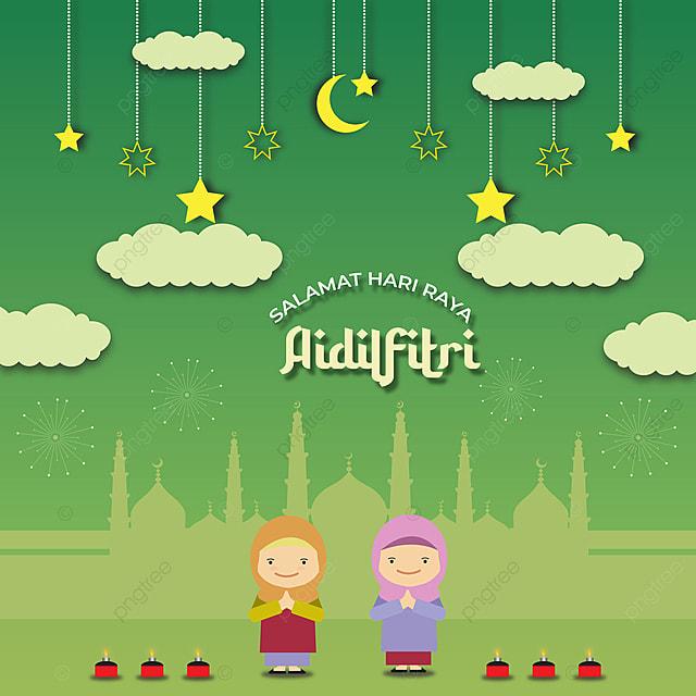 Gambar Kartun Hari Raya Aidilfitri Design Vector Eid Salam Hari Latar Belakang Untuk Muat Turun Percuma