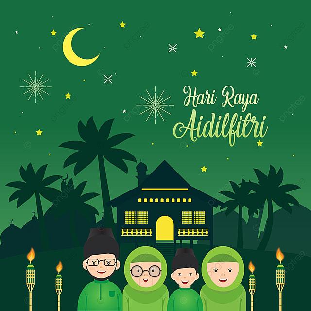 Cartoon Hari Raya Aidilfitri Flat Design Vector Eid Greet Hari Background Image For Free Download